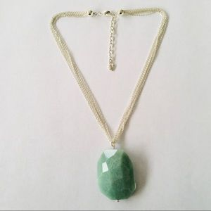 NWOT Carolee Silver Chain Stone Pendant Necklace